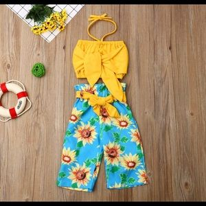 2 pc. Sunflower Halter/Gaucho Set